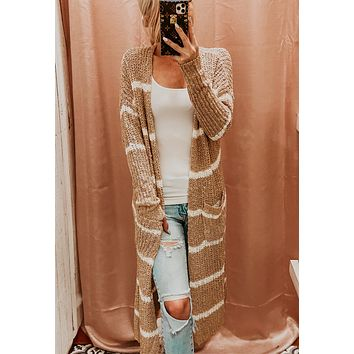 BABY IT'S COLD OUTSIDE STRIPED CARDI IN KHAKI
