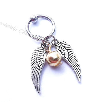 316L Surgical Steel golden snitch captive ring Helix, cartilage, tragus earring