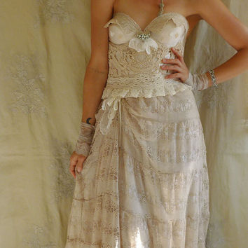 Spindle Bustier Wedding Dress or Formal Gown...  Size Small or Medium... boho fairy free people alternative whimsical fantasy eco friendly