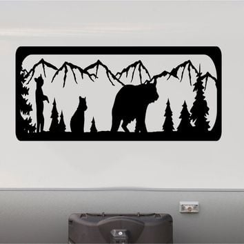 Grizzly Brown Bear Mountains RV Camper 5th Wheel Motorhome Vinyl Decal Sticker Graphic Custom Text Mural