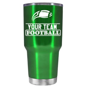 TREK Personalized Football Team on Translucent Green 30 oz Tumbler Cup