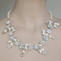 Wedding Bridal Luxe Necklace -White Wedding Blossom - Luxe Diamond Shape Silver Clear Crystals FW Pearls Leaves And Flowers