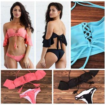 3 Colors Off Shoulder Ruffle Bandage Bikini Set Swimwear Beach Swimsuit Brazilian Two Piece Bathing Suit CCA8532 10pcs