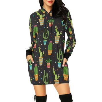 Succulent And Cactus Short Mini Hoodie Dress