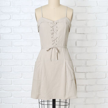 Beige Lace-Up Mini Dress