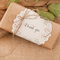 Wedding Chocolate Favors with doily and message - Chocolate Favors for Guests - Wedding Decor -  Rustic Chocolate Favors - Set of 10pcs