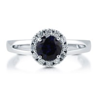 Sterling Silver Round Simulated Blue Sapphire CZ Halo Ring 1.02 ct.tw2 Review(s) | Write A ReviewSKU# R783-SP