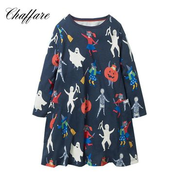 Chaffare Baby Girls Dress Cotton Halloween Princess Dress Ghost Pattern Frock Vestido Girl Autumn Clothes For Girls 2-8Years