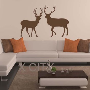 North European Tundra Animal Reindeer Deer Silhouette WALL ART STICKER VINYL DECAL DIE CUT ROOM STENCIL MURAL HOME OFFICE DECOR