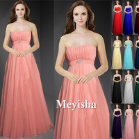 ZJ0013 2016 new arrival chiffon peach color country style bridesmaid dresses plus size maxi orange blue royal purple burgundy