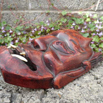 Vintage Japanese wooden Hannya mask - Japanese devil carved wooden mask - vintage wall hanging brown wooden decor - Asian Oriental vintage