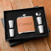 Flask and Shot Glass Set, Personalized Flask and Shot Glass Kit, Personalized Flask Set