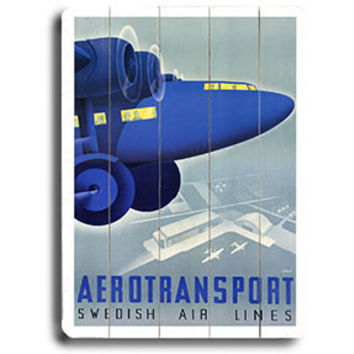Aerotransport Swedish Air Lines Aviation Poster Wood Sign