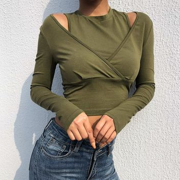Women's Fashion Winter Hollow Out Strapless Tops Long Sleeve T-shirts [1921865547873]