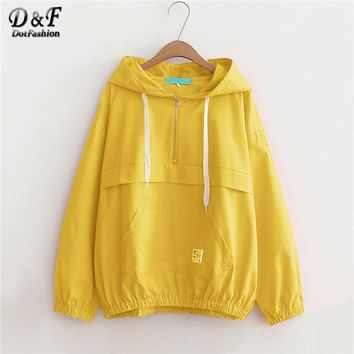 Dotfashion Yellow Drawstring Pocket Zip Up Hoodie Jacket Women Casual Autumn Hooded Plain Clothing Ladies Spring Zipper Coat