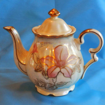 Royal Sealy Teapot Rose Design with Iridescent Color and Gold Accents