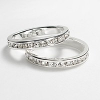 Silver Tone Simulated Crystal Eternity Ring Set