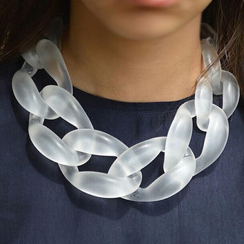 Fashion Necklaces For Women HOT big plastic Chain Necklace jewelry Frosted white Women Jewelry