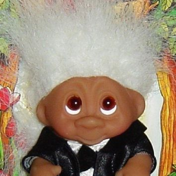 "WEDDING GROOM Dam Troll Doll 3"" NEW Wedding Party - Groom White Hair"