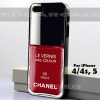 08 Pirate, Le Vernis - Hard Cover, Nail Polish - For iPhone 4 / 4S, iPhone 5 - Black / White Case