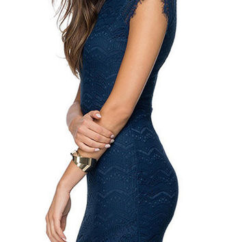 Blue High Neck Lace Dress
