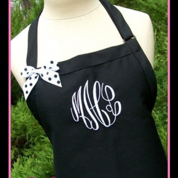 Black and White Gourmet Monogrammed Apron - Personalized Chefs Gift Idea Hot Pink Ribbon Bakers Unisex Womens Wedding Bridal bridemaids