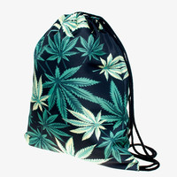 Weed Leaf Monogram Drawstring Bag