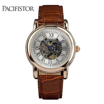 Mens Watches Vintage Mechanical Skeleton Gold Tone Wrist Watches Brown PU Leather Gift Watches Male