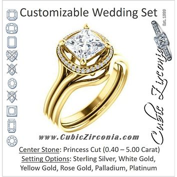 CZ Wedding Set, featuring The Jaci engagement ring (Customizable Cathedral-set Princess Cut Design with Split-Band and Halo Accents)