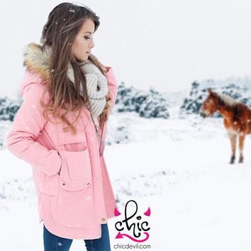 Winter Coat with Hood, Pink