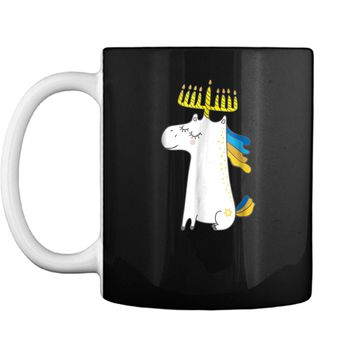 Funny Jewish  Unicorn Menorah  Kids Girl Hanukkah Mug