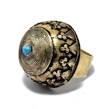 Afghan Kuchi Ring,Carve Tribal Ring,Ethnic Ring,Festival Jewelry,Gypsy Boho Ring,Bedouin Dome Ring,Antique Turkish Ring,Hippie Bohemian Ring