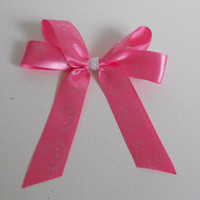 CLEARANCE--Handmade Hair Bow on Clip for Little Girls-Hot Pink with Silver Metallic Hello Kittys!