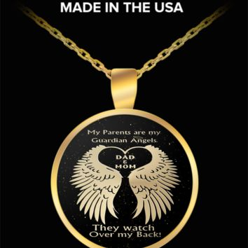 My parents are my guardian angels - mom and dad watch over me - gold pendant necklace
