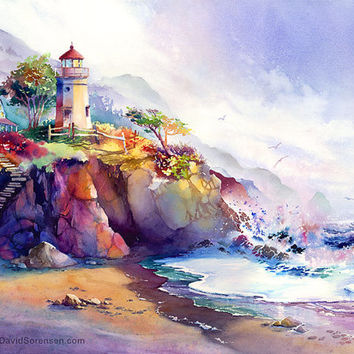 Coastal Colors- Lighthouse Watercolor Painting Print. Colorful Watercolor. Crashing Waves. Magenta. Ultramarine Blue. Beach Art. Ocean.