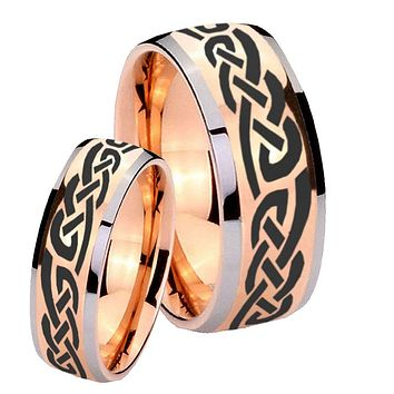 Bride and Groom Celtic Knot Infinity Love Dome Rose Gold Tungsten Engraved Ring Set