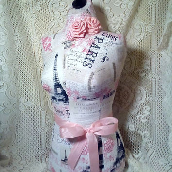 Paris Boutique Dress form Life size torso great store front home decor Pink linen Bust forms craft show displays pop-up shop Eiffel Tower