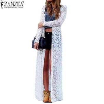 LMFLD1 Plus Size ZANZEA Blusas 2018 Spring Women Outwear Lace Long Sleeve Beach Kimono Cardigan Casual Loose Long Blouses 6 Colors