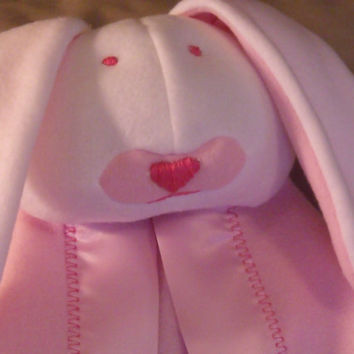White and Pink Bunny Security Blanket by KraftyGrannysHome