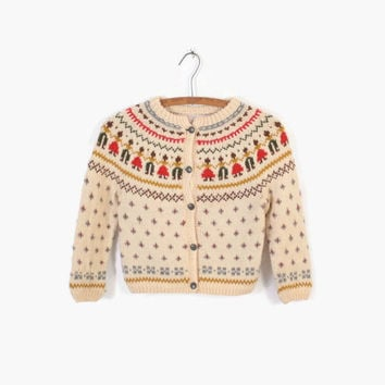Vintage 50s NORWEGIAN CARDIGAN / 1950s Hand Knit Novelty People Scandinavian Wool Sweater XS