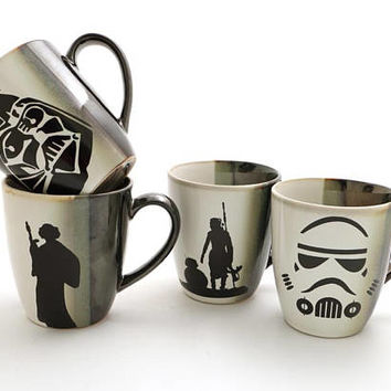Star Wars mug set, set of four upcycled stoneware mugs with Storm Trooper, Darth Vader, Han and Leia, Rey and BB8, one of a kind