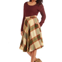 Pink Martini Vintage Inspired, Scholastic Long A-line Simple Math Skirt in Autumnal Plaid