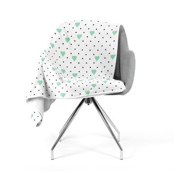 "Project M ""Pin Point Polka Dot Mint"" Green White Fleece Throw Blanket"