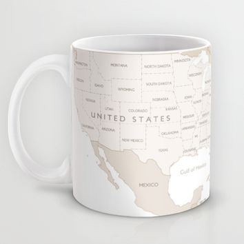 Beige world map with country names and states names, Our adventures Mug by BlursbyaiShop