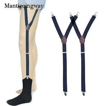 Mens Shirt Stays Garter Navy Blue Y-back Adjustable Elastic Straps Sock Suspenders Polka Dots Socks Garters Belts