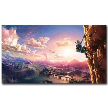 The Legend of Zelda Breath of The Wild Art Silk Fabric Poster 13x24 24x43inch New Game Pictures for Living Room Wall Decor 014