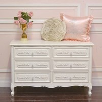 Elegant White 6 Drawer Dresser with Roses