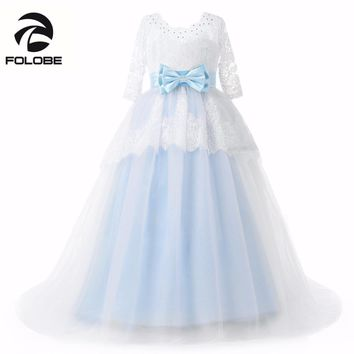 New Arrival Peagant Sheer Neck Beading Appliques Lace Flower Girls Dresses for Wedding Bow Sash First Communion Dresses for Girl