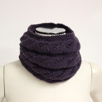 Knit Infinity Scarf, Aubergine Snood Scarf, Cable Knit Snood, Purple Knit cowl, Wool Infinity Scarf, Eggplant Wool Cowl, Knit Neck Warmer