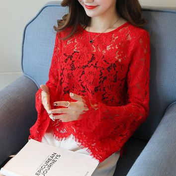 Sexy Crochet Lace Blouse Women Flare Long Sleeve Shirt Woman Summer Tops Plus Size Black White Blouses 2017 Camisas Mujer